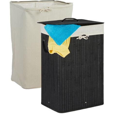 Wäschekorb Bambus, faltbarer Wäschesammler mit Deckel, 80 L, rechteckig, 2 Wäschesäcke, 66x44x34 cm, schwarz