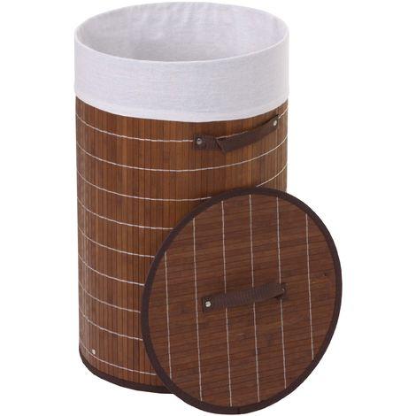 Wäschekorb HHG-132, Laundry Wäschebox Wäschesammler Wäschebehälter Wäschetonne, Bambus rund 59x35cm 50l