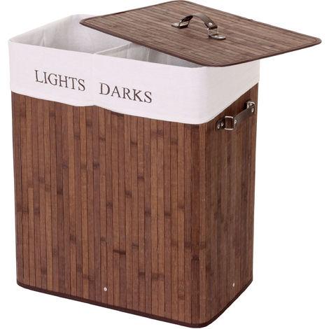 Wäschekorb HHG-153, Laundry Wäschebox Wäschesammler Wäschebehälter, Bambus 2 Fächer 63x55x34cm 100l