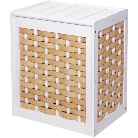 Wäschekorb HHG-818, Wäschesammler Wäschesortierer Wäschebox, Massiv-Holz Shabby-Look Geflecht 61x51x35cm