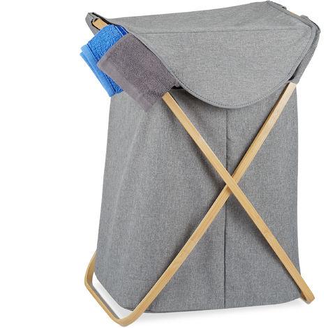 Wäschekorb, klappbarer Wäschesammler mit Deckel, 58 L, tragbar, Bambus & Stoff, 62,5 x 43 x 42 cm, grau/natur