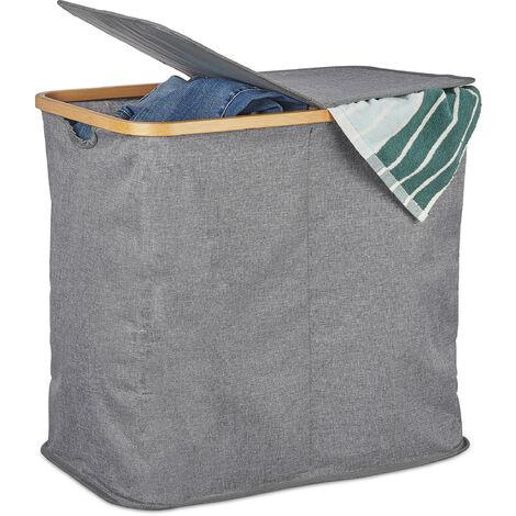 Wäschekorb mit Deckel, faltbarer Wäschesammler, Bambus & Stoff, Wäschesortierer mit 2 Fächern, 74 Liter, grau