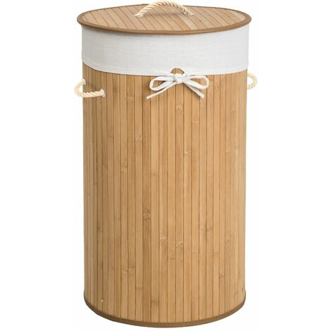 Wäschekorb mit Wäschesack rund - Wäschesammler, Wäschetruhe, Wäschesortierer - beige