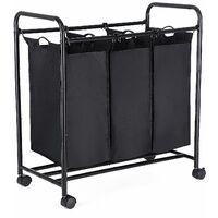 Wäschekorb, Wäschesammler mit 3 abnehmbaren Stofftaschen, Wäschebehälter auf Rollen, Wäschesortierer, stabil, 3 x 44Liter, Schwarz LSF003B