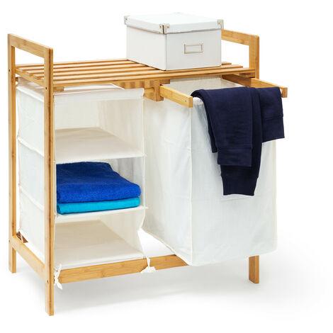 Wäschesammler Linea Bambus HxBxT: ca. 77 x 69,5 x 36 cm Wäschepuff mit 40 Litern Volumen 2 Ablagen und 3 Fächern als Wäschebehälter mit Wäschesack aus weißem Stoff und 2 Griffen, natur