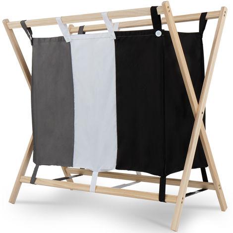 Wäschesortierer 3 Fächer Holz Wäschekorb Wäschebox Wäschewagen Wäschesammler