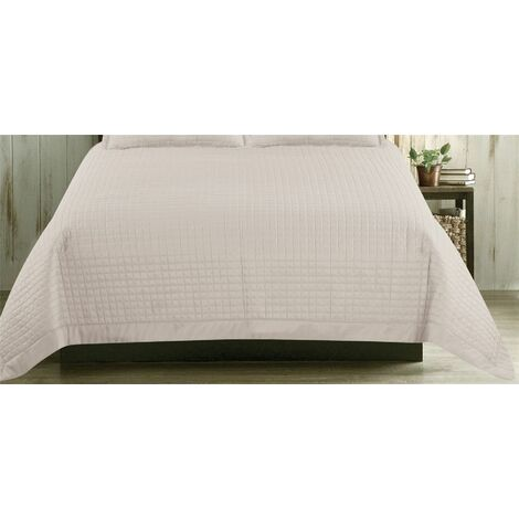 """main image of """"Waffle Pattern Quilted Bedspread/Throwover Comforter Pastel Latte 220x250cm"""""""