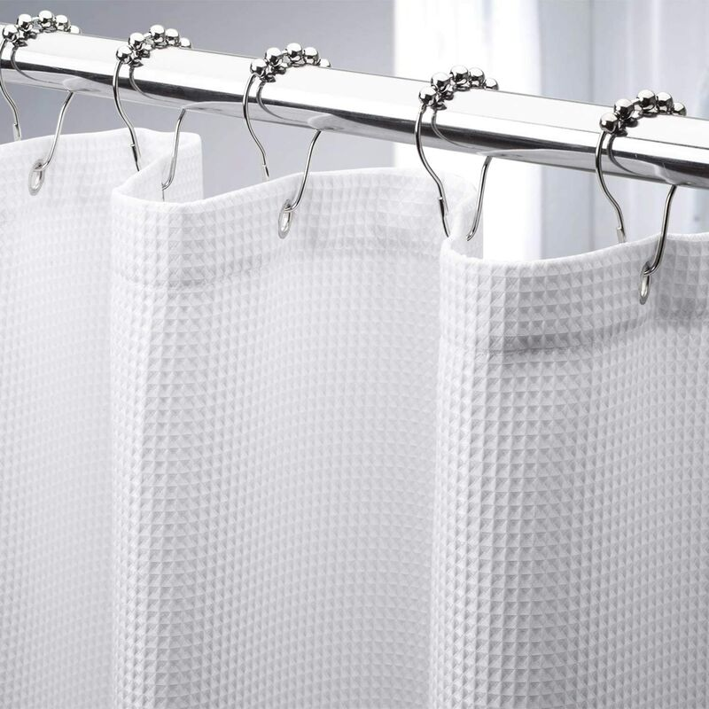Waffle Shower Curtain, Heavy Duty Fabric Shower Curtains with Waffle Weave Hotel Quality Bathroom Shower Curtains, 72 x 72 Inches