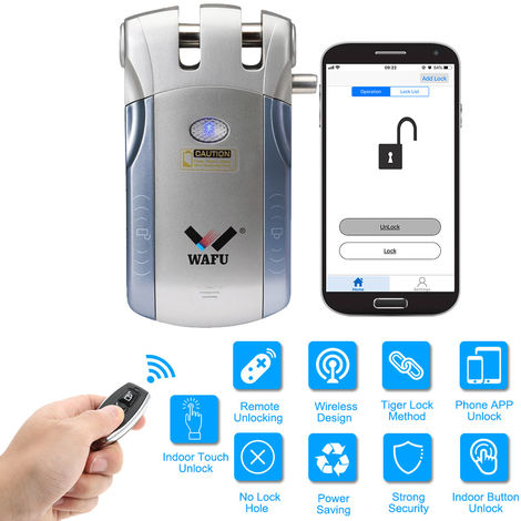 Wafu WF-010U seguridad inalambrica puerta de entrada sin llave inteligente invisible bloqueo casa inteligente remoto de bloqueo de control de iOS Android APP desbloqueo con 4 teclas de control remoto, azul + plata