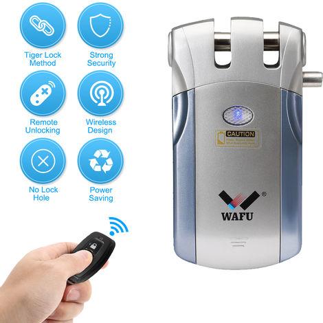 Wafu WF-018 de control remoto inalambrico de bloqueo de seguridad de puerta de entrada sin llave inteligente invisible bloqueo de aleacion de zinc metal inteligente de cerraduras de puertas con 2 llaves remotas, azul