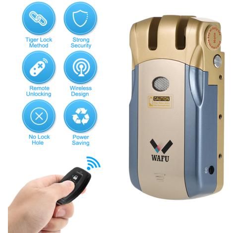 Wafu WF-018 puerta de entrada de control remoto inalambrico de bloqueo invisible de la seguridad sin llave cerradura de la puerta de bloqueo inteligente de aleacion de zinc metal inteligente con 2 teclas de control remoto, azul y oro