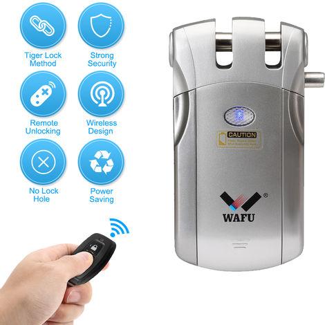 Wafu WF-018 puerta de entrada de control remoto inalambrico de bloqueo invisible de la seguridad sin llave inteligente de bloqueo de aleacion de zinc metal inteligente de cerraduras de puertas con 2 teclas de control remoto, plata