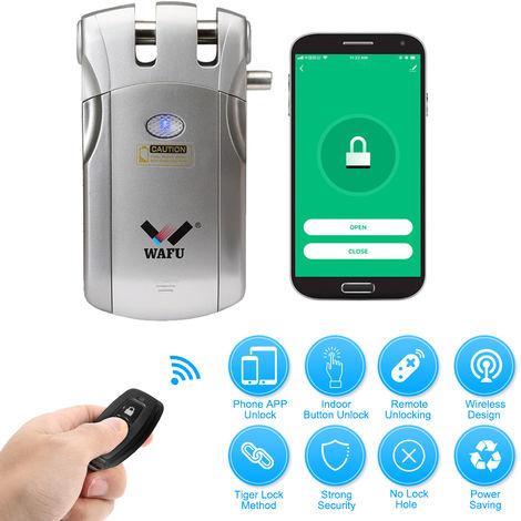 Wafu, Wi-Fi inteligente Cerradura electronica, con 2 controladores remotos, plata