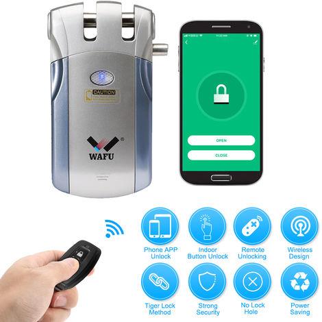 Wafu, Wi-Fi inteligente Cerradura electronica, con 4 controladores remotos, azul + plata