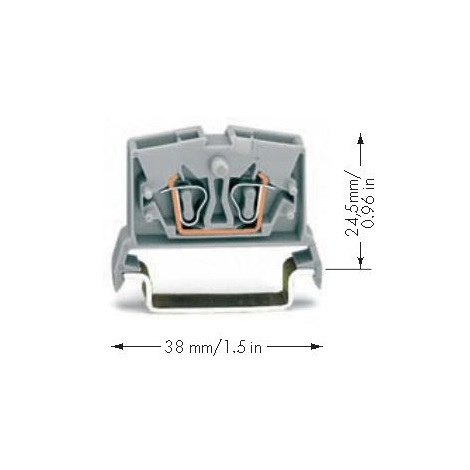 Wago 264-736 - Borne de passage 4C - pour rail DIN TS 35 - Orange