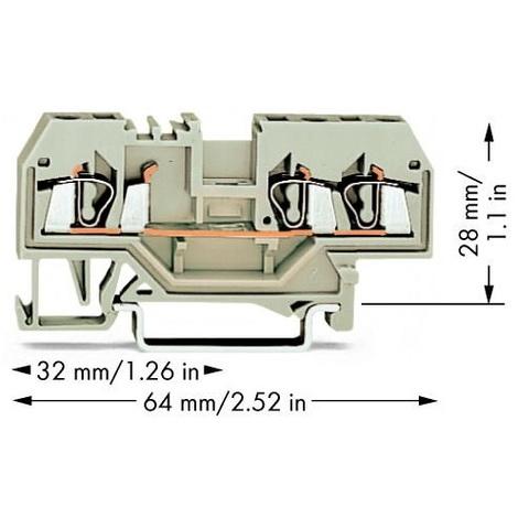 Wago 280-993 Borne de passage 5 mm ressort de traction - Affectation des prises: L gris
