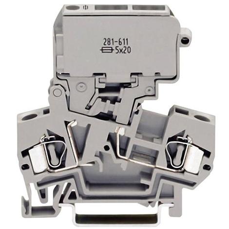 Wago 281-611 Bloc de jonction à fusible 2 voies 28-12AWG 4mm² 10A - type G 5x20mm - Maintenu