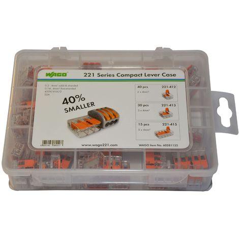 orange 412-lever-clamp-2-way-connectors-terminals-pack de 1//à 100 Wago-221