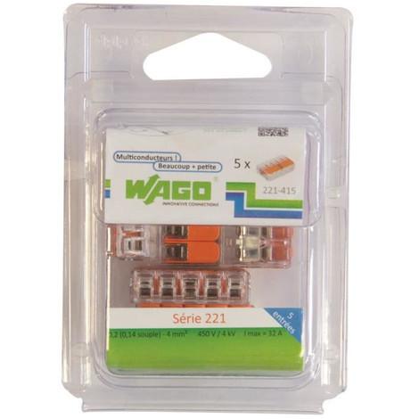 Wago WAG221344/_BL5 Pack de 5 Bornes de connexion universelle tous conducteurs Type 221// 3 entr/ées
