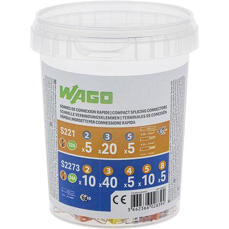 Wago WAG221//PAN20 Pack de 20 Bornes de connexion universelle tous conducteurs type 221//2-3-5 entr/ées