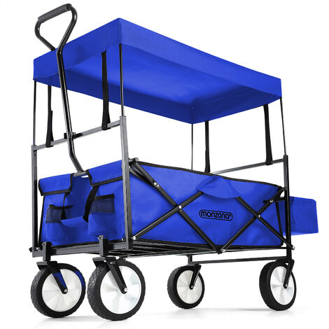 """main image of """"Wagon Cart Trolley with Collapsible Canopy Garden Transport Portable Trailer"""""""