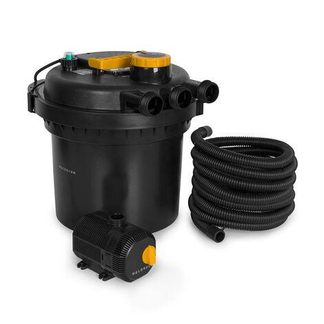 Waldbeck Aquaklar Juego de filtros de presión para estanques 11W Clarificador UV-C Bomba de 35W Manguera de 5 m