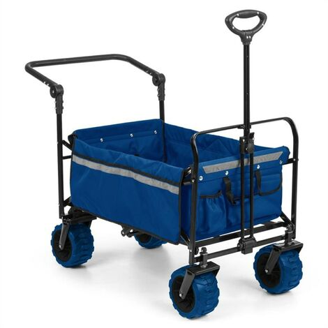 Waldbeck Easy Rider Chariot de transport + barre charge 70kg - bleu