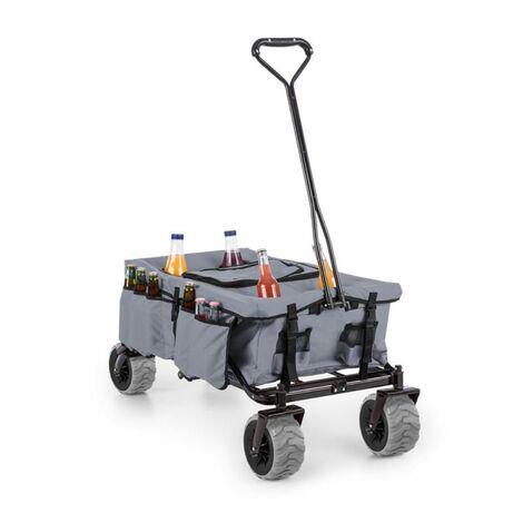 Waldbeck Greyjoy Hand Cart Wagon Trolley Foldable 68kg Side Pockets Grey