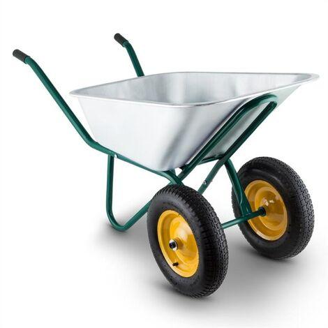 Waldbeck Heavyload Carretilla 120l 320kg Carretilla de jardín 2 ruedas Acero Verde