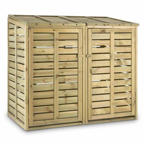 Waldbeck Ordnungshüter 2T Garbage Bin Holder 145x130x87 cm (WxHxD) 2 Bins Pine Wood