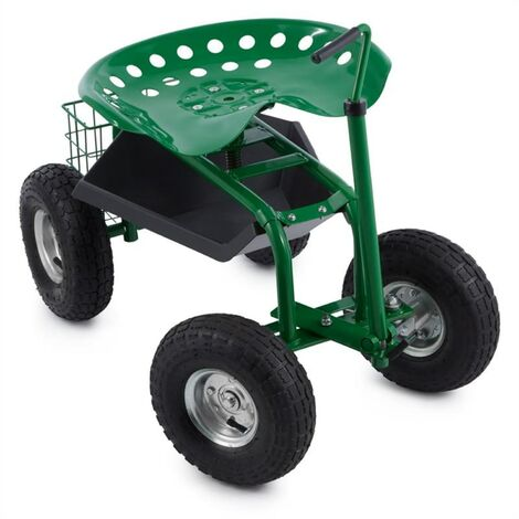 Waldbeck Park Ranger garden chair on wheels 130 kg storage place steel green