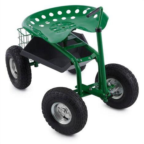 Waldbeck Park Ranger Siège de jardin 130 kg roulettes compartiment acier vert