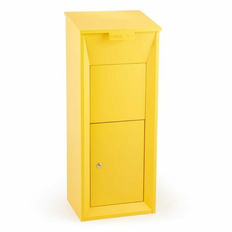 Waldbeck Postbutler buzón para paquetería buzón de pie amarillo