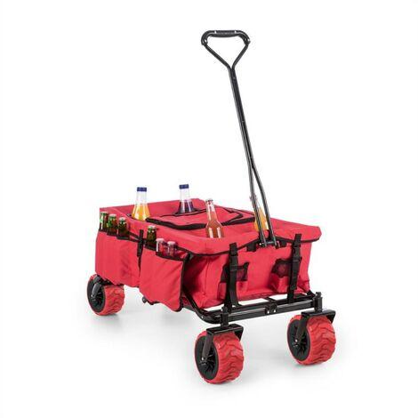 Waldbeck Red Devil Chariot à main pliable 68 kg poches latérales - rouge