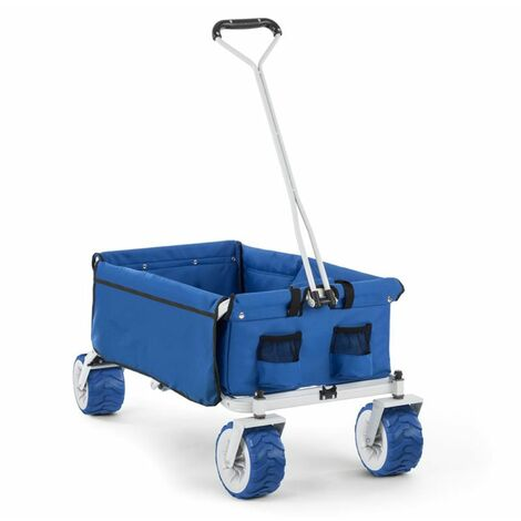 Waldbeck The Blue Hand Cart Hand Wagon Foldable 70 kg 90l Wheels 10cm Blue