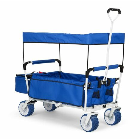 Waldbeck The Blue Supreme Hand Cart Hand Wagon 68 kg Sun Awning