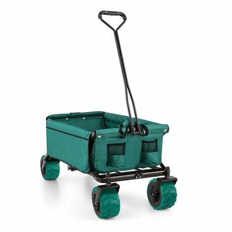 Waldbeck The Green Hand Cart Wagon Trolley Foldable 70kg 90l Wide Wheels 10cm Green