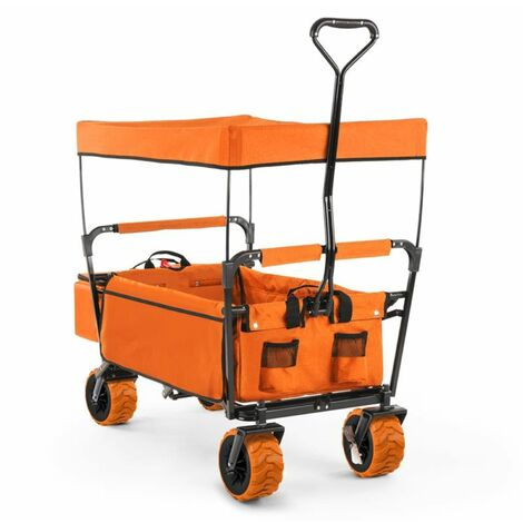 Waldbeck The Orange Supreme Hand Cart Hand Wagon 68 kg Sun Awning