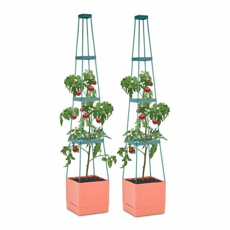 Waldbeck Tomato Tower Lot 2 Pots plantes tomates 25x150x25cm Tuteur polypropylèn
