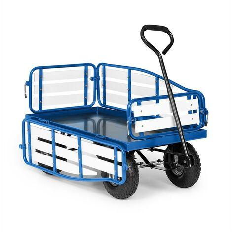 Waldbeck Ventura Carretilla de mano Carrito de transporte Capacidad de carga de 300 kg Acero WPC Color azul