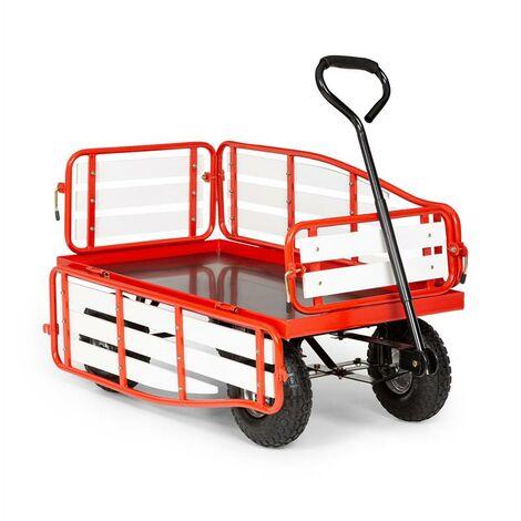 Waldbeck Ventura chariot à main charrette charge lourde 300 kg acier WPC rouge