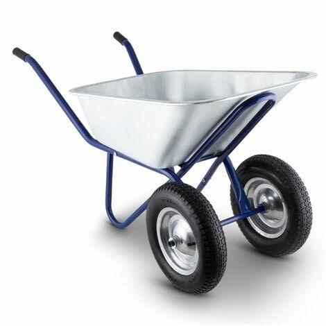 Waldeck Heavyload Wheelbarrow 120l 320kg Garden Cart 2-Wheel Steel Blue