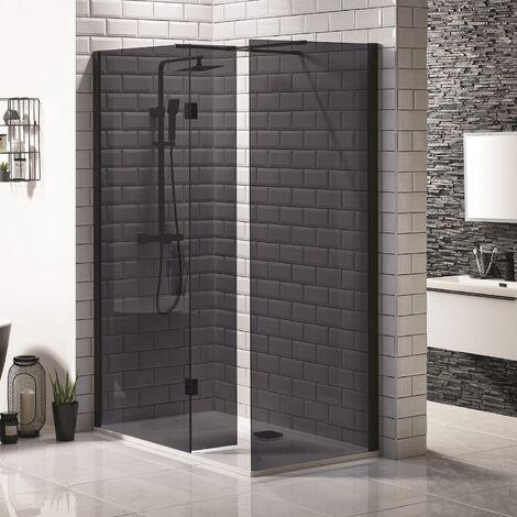 Walk In 2 Panel Black Shower Enclosure Bathroom Frameless 8mm Screen Tray Waste