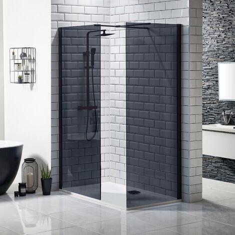 Walk In 700x700mm Black Shower Enclosure Wet Room Frameless 2 Panel Screen Tray