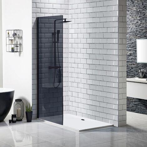 Walk In Black Shower Enclosure Wetroom Bathroom Frameless 1000mm Screen Tray