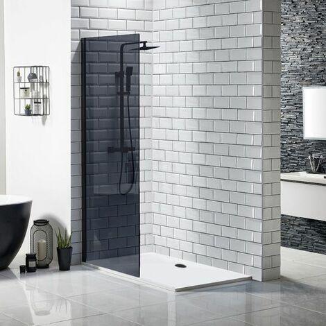 Walk In Black Shower Enclosure Wetroom Bathroom Frameless 800mm Screen Tray