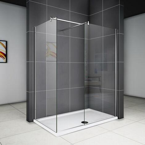 Walk In Dusche Duschwand Duschabtrennung Duschkabine mit Stabilisator Nano ESG Glas 8mm