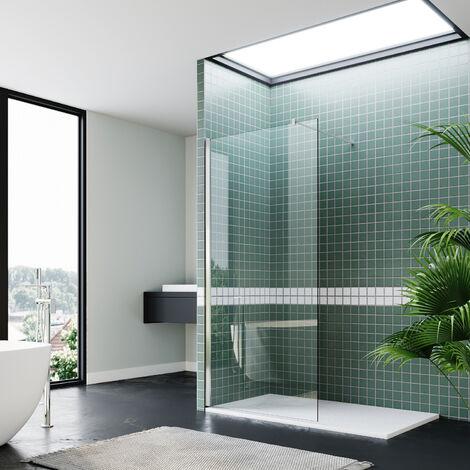 Walk In Shower Enclosure 1200mm Chrome Wet Room Frameless Shower Screen 8mm Nano Glass Shower Door