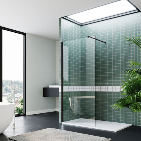 "main image of ""Walk In Shower Enclosure 760mm Black Wet Room Frameless Shower Screen 8mm Nano Glass Shower Door"""