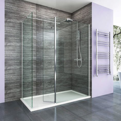 Walk in Shower Enclosure 8mm Easy Clean Glass 1000mm Wetroom Shower Glass Panel with 800mm Side Panel and 300mm Flipper Panel